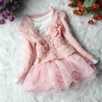 Красивые девушки свободного покроя куртки кардиган и диманте платье ребенка балетной пачки дети пальто + платье гриль платье 2015 новых детей одежда
