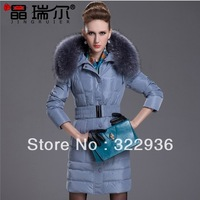 New 2013 autumn winter down & parka thick coat large fur collar slim medium-long down coat female plus big size 7Colors