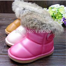 2015 NEW free shipping Real Rubbit fur children s snow boots EU21 30 kids girls warm