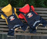 new arrival pirate print pet suits i love pet dog coat scottish plaid jacket yellow  orange jeans drop shipping