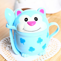6013 Min order $10 (mix order) free shipping 2013 new cute cartoon lover's cup with cover and spoon monkey  KT cat cup