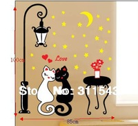 Love Cats In Street Lamp sticker for Bedroom wall decals Cozy DIY kids room Art Home Decoration K021 Free shipping