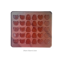100% Silicone Bear Heart Star Macaron mat Jelly fondant Cake chocolate Mold Silicone tool Baking Pan Free shipping!