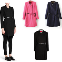 2013 winter new simple atmospheric solid knit collar long-sleeved women's long coat / Free Belt  Wool & Blends