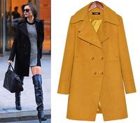 2014 Tops Fashion Women Wool Coat long sleeve classical black blue plus size XXXL  Woolen coat Blazer  Warm clothes 8130