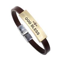 bracelet&bangle for man leather bracelet wholesale Religion Jesus GOD BLESS (min order$15)