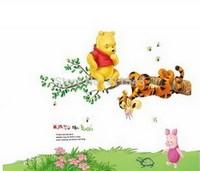 cartoon bear and tiger wall sticker home decor, 3D wallpaper for kids room,children bedroom wall decals mural k030