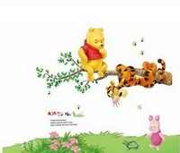 Free shipping cartoon bear and tiger wall sticker home decor, 3D wallpaper for kids room,children bedroom wall decals mural k030