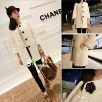Hot!New 2014 women autumn winter loose tweed medium-long all-match cardigan overcoat Ladies small fragrant wind woolen coat G341