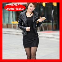 2014 Winter  Designer Leather Jacket For Women, Black Motorbike Zipper Jacket 1202