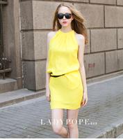 2013 women's summer fashion candy color tank dress strapless basic halter-neck sleeveless chiffon one-piece dress