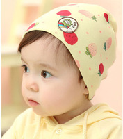 2013 New 5pcs/lot Spring Autumn Winter cotton Baby hat  Newborn cap strawberry with cat tag 6 colors Free shipping