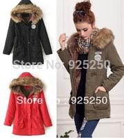 HOT SALE women's winter thick coat  women army green warm jacket cotton military outwear coat fleece lining parka faux fur hood