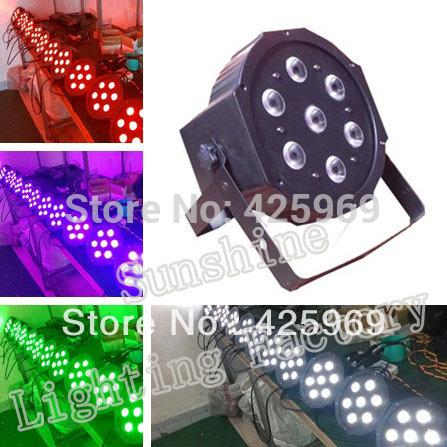 Free shipping! 7*12W RGBW 4 in 1 Led Flat Par Can Lighting, DMX512 Stage Light, Megar Par Profile(China (Mainland))
