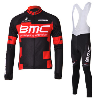 Free shipping! 2012 new American BMC Racing Tour de France cycling team BMC team edition black and red long-sleeved suit strap