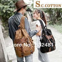 2013  Genuine Leather vintage fashion cotton canvas backpack hot sales and free shipping crazy horse leather tactical bag