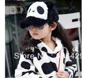 free shipping 2013 new autumn and winter children panda plush baseball cap and Parent-child cap cap (4 colors)