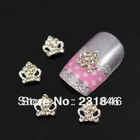 30 pcs Shiny 3D Alloy Silver Crown Rhinestone Star Slices Glitters Nail Art Tips Decoration Cell Phone DIY UV Gel Decal 17X10mm
