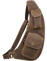 Men Sling Messenger Bag Crossbody bag Cowhide Leather Hiking Sport Bag Brown NEW 3011 Free shipping