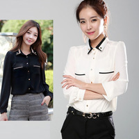 2013 New Promotions Hot Trendy Cozy Women Blouse Shirts Jacket T-shirt Fashion Chiffon Black and White Mixed Colors Pullover