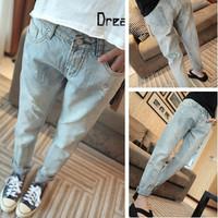 women's all-match small hole scratched denim pants laides women light color denim jeans pants trousers 273