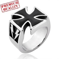 Vintage Men's Ring Cross of Jesus Christ Titanium Steel Stainless Steel Ring