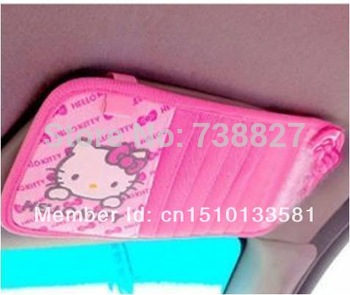 Free Shipping 1pcs Hello Kitty Pink Bowknot Car CD Holder Stowing Tidying Car Interior Accessory  KIT0001