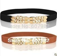 Women 2014 Belts Fashion Female Belts With Chain Elastic Waistband Ladies Leather Women Belt Gold Buckle Skinny Belt For Woman