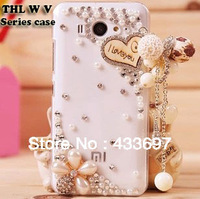 Hot selling!Luxury Bling crystal transparent case cover for THL W8 V11 W1 W3 W5 V8 W6 clear case shell+free gift