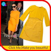 2014 Limited Seconds Kill Empire Women's Cotton Knee-length Bodycon Peplum Tops Dress Novelty Victoria Beckham Celebrity Party