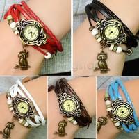New Quartz Weave Wrap Leather Vintage Bracelet Watch,bracelet Wristwatches Women Wristwatch Hand Knit starfish Owl Pendant 18656