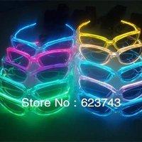 2Pcs EL Wire Flashing Blinking lighting glasses,el glowing shades Sunglasses,Light-Up Glasses,brillante gafas de sol free ship