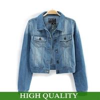 New 2014 Autumn Winter Jackets Women Short Denim Jeans Jacket Turn-down Collar Full Sleeve Coats Single Breasted Pockets Coat