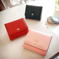 carteira  Women's crown PU leather short design three fold wallets female wallets coin purse  cartera