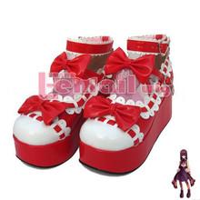 Free Shipping! Girl High Heels Customized Kera Lolita Baby Doll Bow Pump Sandal Shoes Size 5-12.5 SE03(China (Mainland))