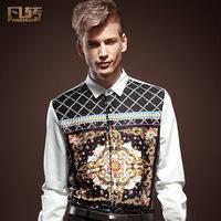 Royal men's clothing autumn male slim pattern decorative pattern long-sleeve shirt the trend men's clothing shirt 13313