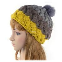 Women's Winter Knit Hat Splicing Color Wool Warm Cap Baggy Beanie Headwear 18573