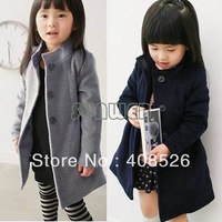 Children's Clothing Girls Winter Coat Kid Thick Warm Baby Woolen Trench Overcoat Cotton-padded 18715
