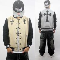 Baseball jacket hoodie sweatshirt uniform Winter Autumn cross embroidery Brand outdoor sport men women apricot/gray M-XXXL