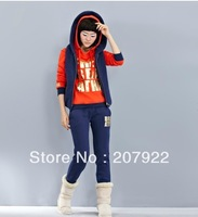 HOT !!  NEW SET 3  women's sweatshirt hooded 3 peace sport sweater autumn and spring season good quailty weight 0.9kgs