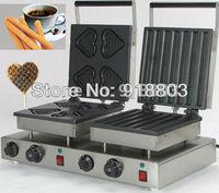 Doulbe-Head 220v Electric Heart Waffle Churros Maker Machine Baker