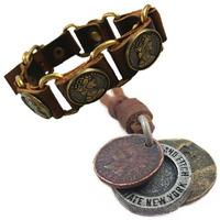New 2014 Men's Bijuterias Vintage Genuine Leather Necklaces,Men Punk Bracelets,Bijoux Suit,African Jewelry Set