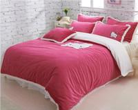 Red velvet softness hello kitty comforter set king size duvet cover 4pc winter warm bed sheet