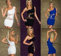 Sexy Lady Club Dress Clubwear Sleeveless Wear One Shoulder Lingeries Nightwear Shirt S-315 3 color for choose