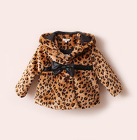 2-6ages Retail Girls Leopard faux  fur collar coat clothing with bow Autumn Winter wear Clothes baby girl Children dress jacket