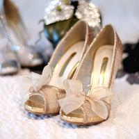 2014 Luxury Gold Peep Toe Nude Ribbon 9cm Metallic Thin Heel Lace Glitter Plus Size Sexy 12 Women's Shoes Bridal Shoes