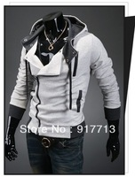 Hot! Light Grey New Assassin's Creed 3 Desmond Miles Hoodie Costume Coat Jacket Cosplay Hoody,High Quality