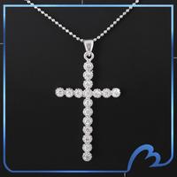 Free Shipping 2014 New Fashion Brand Pendant Platinum Plated Cross Cubic Zironia Inlaid Women Pendant Necklace(DZ-1793-15)