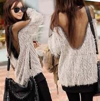 New Style Women Sexy Transparent Gauze Backless Shirt Long Raglan Sleeve Sweater tassels MESH Fur  Top Shirts pullover
