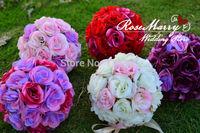 6pcs/lot 5'' Silk Rose Flower Ball Wedding Table Centerpiece Kissing Rose Flower Ball Free Shipping